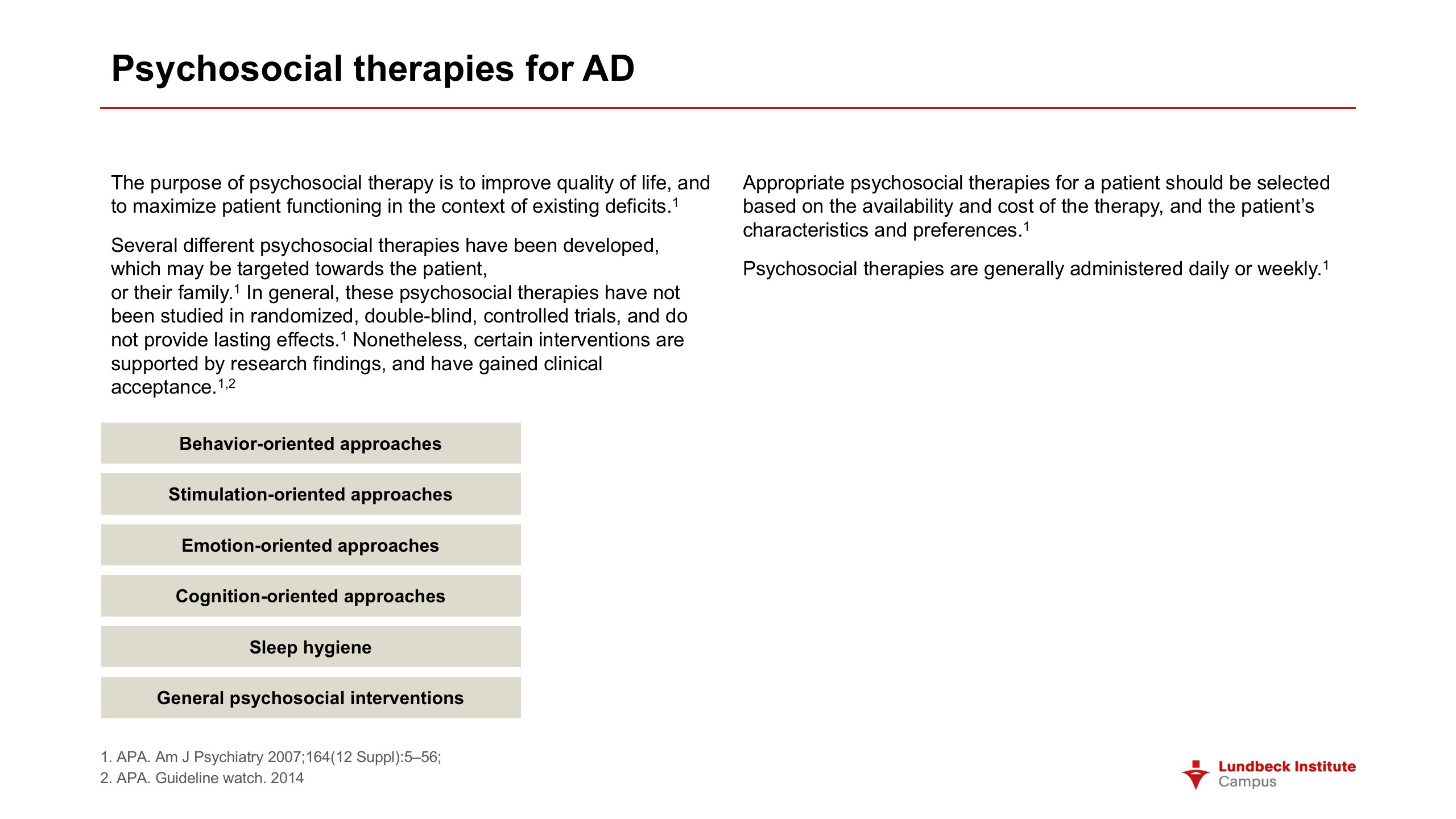 Psychosocial therapies for AD